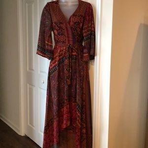 Dark Brown & Burgundy Floral wrap dress
